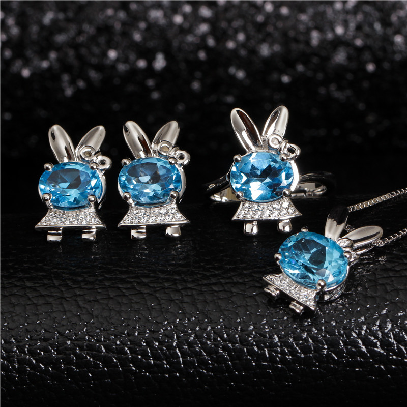 hot sale 925 silver blue topaz ring earrings pendant necklace new style cute fine jewelry set MEDBOO natural gemstone jewelry