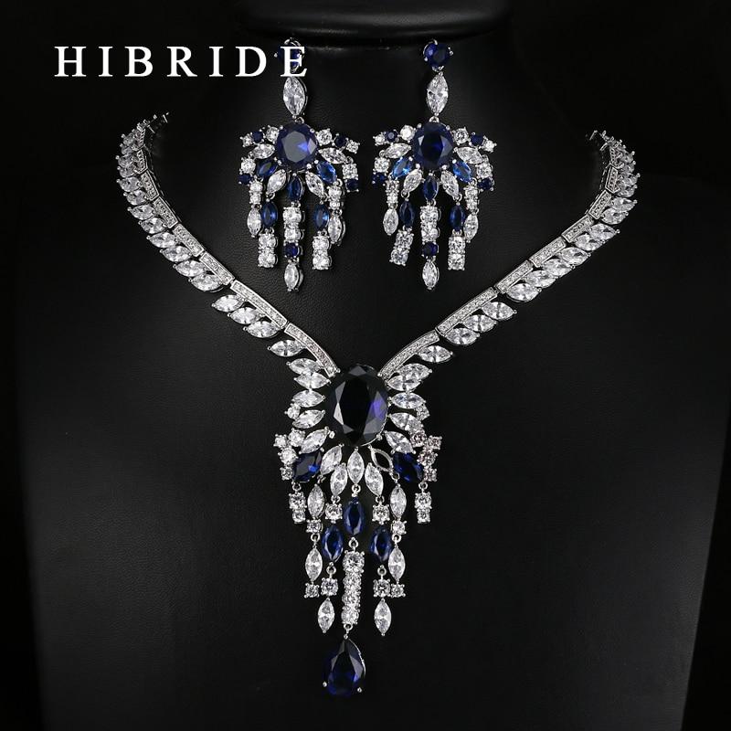 HIBRIDE Luxury Style Flower Shape AAA Cubic Zirconia Pendants Bridal Women Wedding Jewelry Sets N 63