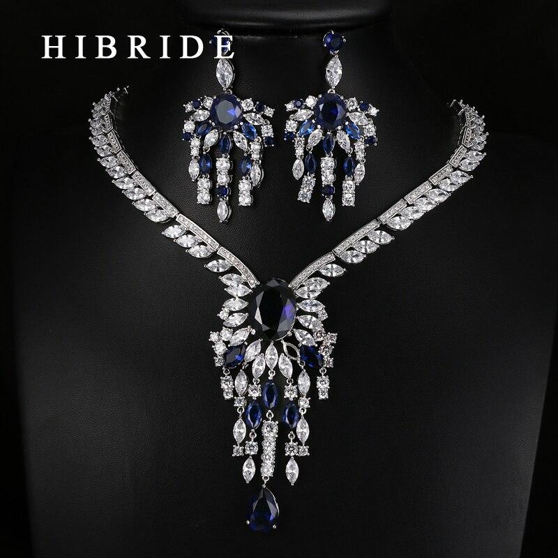 HIBRIDE Luxus Stil Blume Form AAA Zirkonia Anhänger Braut Frauen Hochzeit Schmuck Sets N 63-in Schmucksets aus Schmuck und Accessoires bei  Gruppe 1
