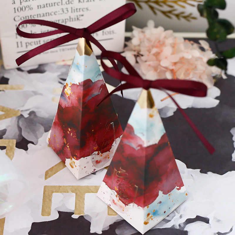 Оригинальная треугольная коробка со свадебными сувенирами и подарочными коробками для конфет, сумки для гостей, вечерние аксессуары для детского душа, свадебные украшения