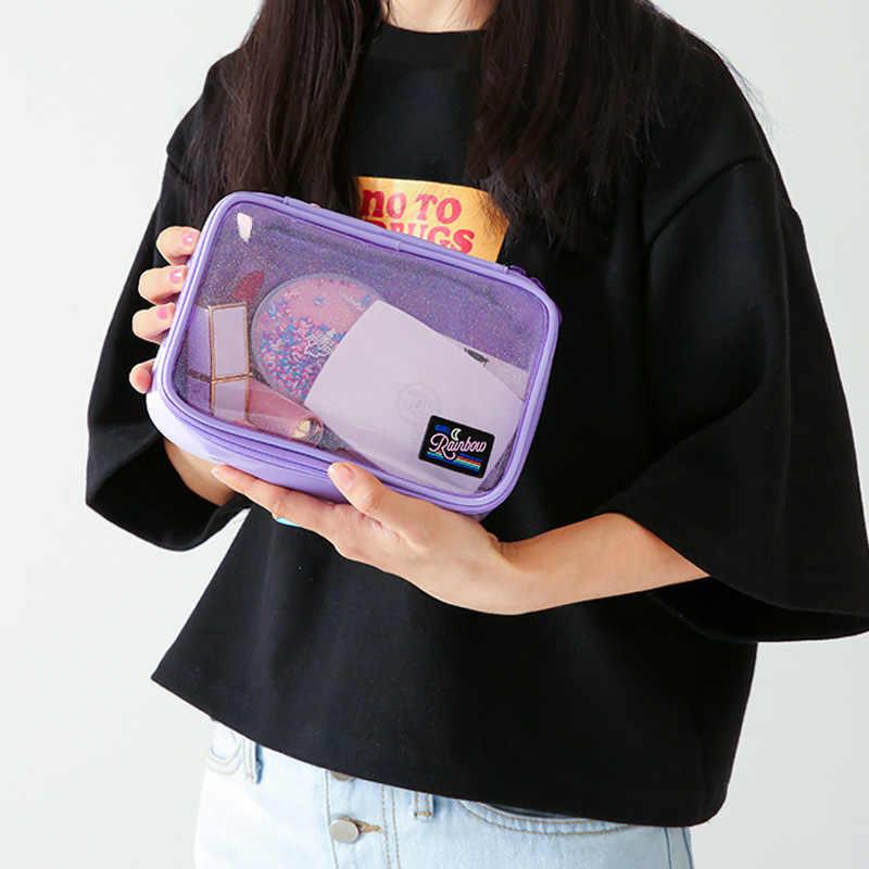 PVC transparente Cosméticos Saco Make Up Brush Casos Saco de Embreagem Das Mulheres Bolsa de Maquiagem Viagem de Higiene Pessoal Organizador De Armazenamento De Grande Porte