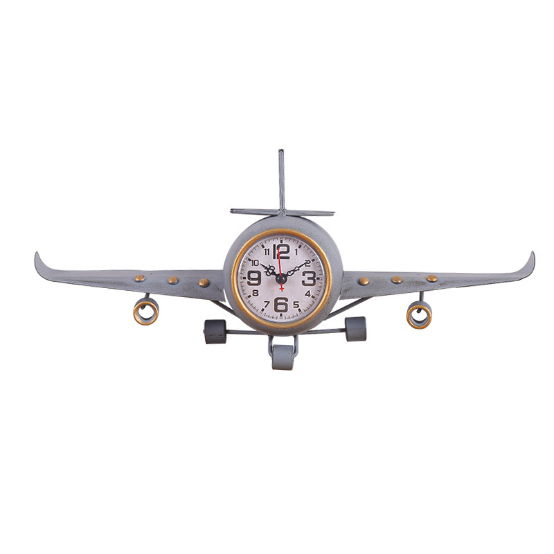 Creative American Country Retro Wrought Iron Small Plane Clock Decoration Desktop Clock Airplane Figurines Home Decoration Gifts