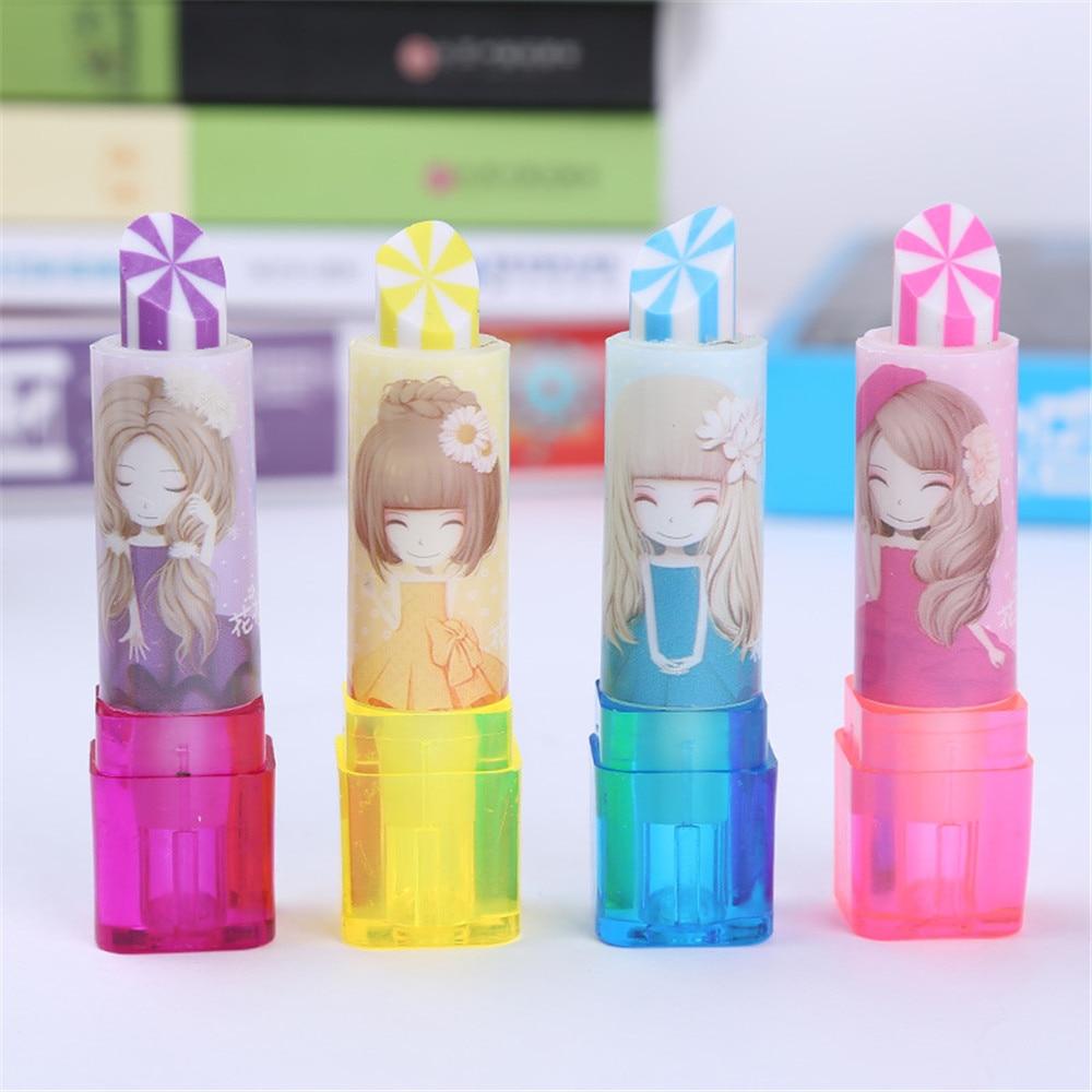 Children/'s products novelty school stationery rubber lipstick shape cute eraser