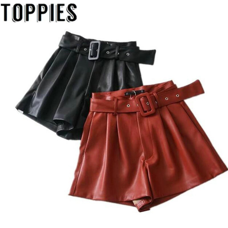 ToppiesWomen Black Orange Color PU Leather High Waist With Belt Wide Leg Faux Leather Shorts Winter Loose PU Shorts