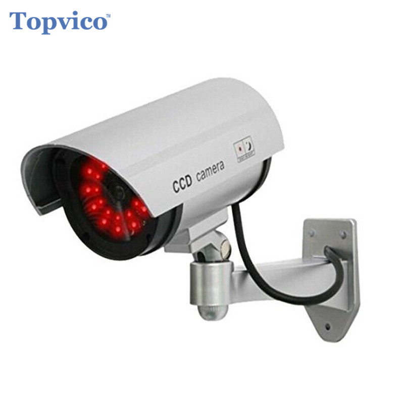 Topvico Dummy Camera AA Battery Powered 30pcs LEDs Fake Outdoor Surveillance House Home Security Camera Bullet CCTV Camera topvico 2pcs dummy cctv camera aa battery for flash blinking led fake house safety home security camera dome surveillance camera
