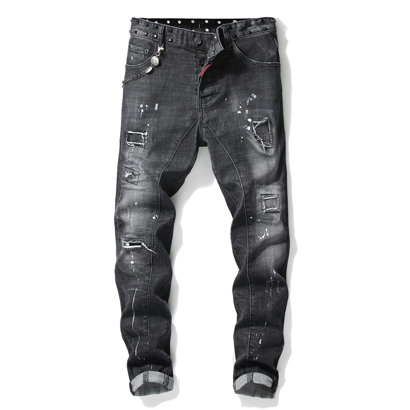 Jeans Men Modis Torn Ripped Splice Paint Rivet Clothing Jeans Men Clothes 2019 Trousers Streetwear Winter Skinny Grey Hip Hop