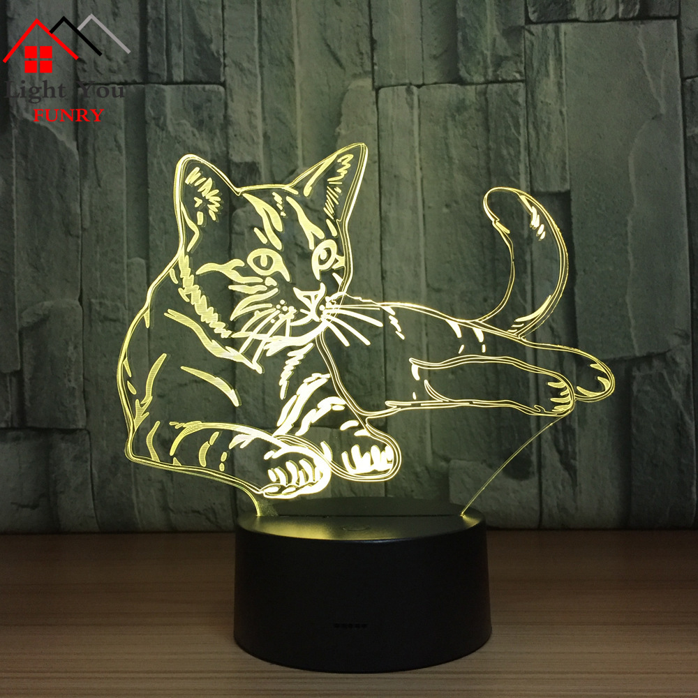 Night Light 7 Color Changing Led Kids Bedside Sasuke Modelling Cat Lighting Fixtures 3D Visual Anime USB Charging Desk Lamp