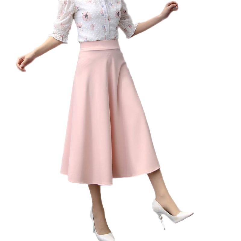 2018 New Summer Autumn Women Vintage Pleated Long Skirts Female Casual Loose High Waist Office Workwear Saias Skirts Jupe Q58