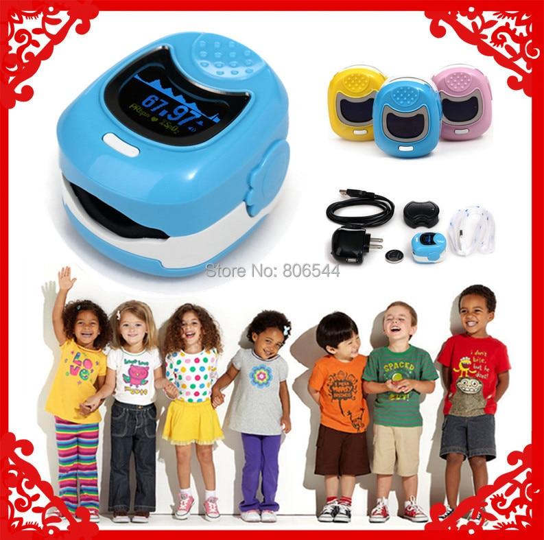 ФОТО Blue Color OLED Fingertip Pulse Oximeter for Children for kid - Spo2 Monitor Kids blood oxygen monitor baby care