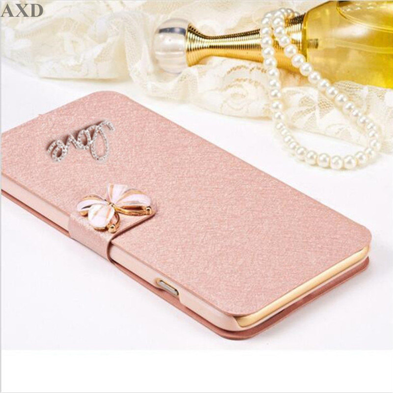 Luxury PU leather Flip Cover For <font><b>ASUS</b></font> <font><b>Zenfone</b></font> <font><b>5</b></font> <font><b>A500CG</b></font> <font><b>A501CG</b></font> <font><b>ASUS</b></font>_T00J Mobile Phone Case Cover With LOVE & Rose Diamond image