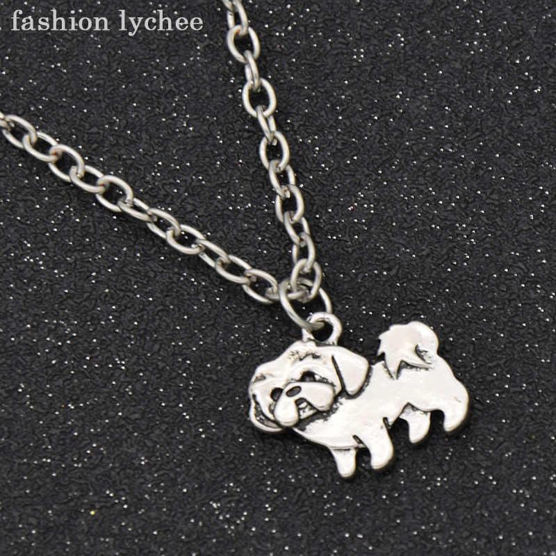 Moda lychee w stylu Vintage srebrny kolor zwierzęta Chihuahua pudel jamnik Pug Dog wisiorek naszyjnik dla kobiet mężczyzn biżuteria