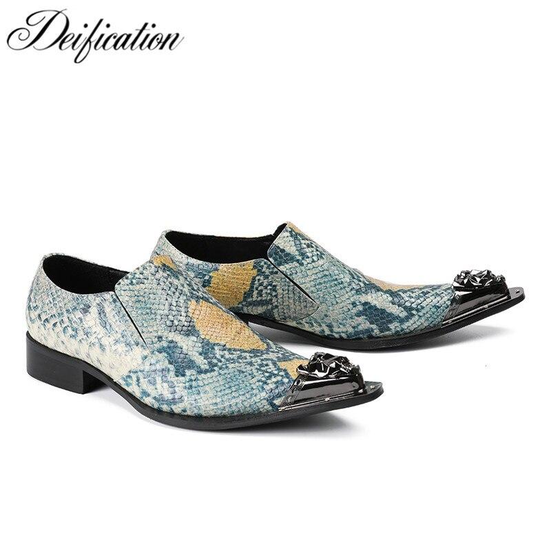 Deification Zapatos Hombre Vestir Stylish Print Snakeskin Men Shoes Metal Pointed Toe Formal Party Dress Shoes Men Plus Big Size