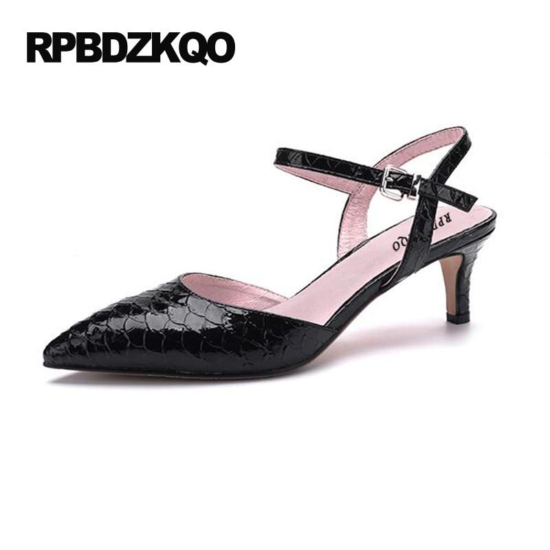 US $49.61 36% OFF|Snakeskin Slingback Schlange Sandalen Spitz Stiletto Schwarz Größe 33 Kleine Partei Pumpen Plus Strap Damen Kitten Heels Schuhe 12
