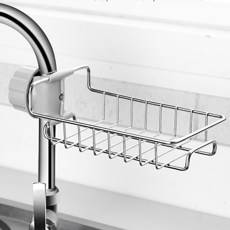 Kitchen Sink Holder For Sponges, Scrubbers, Soap, Kitchen, Bathroom Water Faucet Accessories Stainless Steel Storage Rack