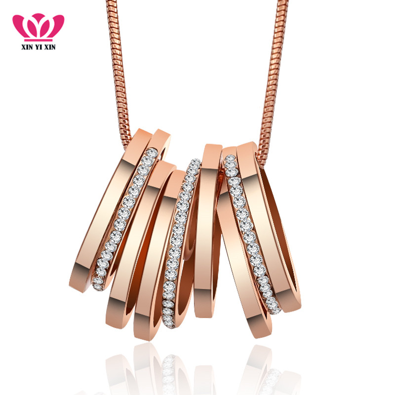2018 New Spring Fashion Jewelry 7 Circles Pendant Long Necklace Gold White Color Snake Chain Necklace US Style Women Collares