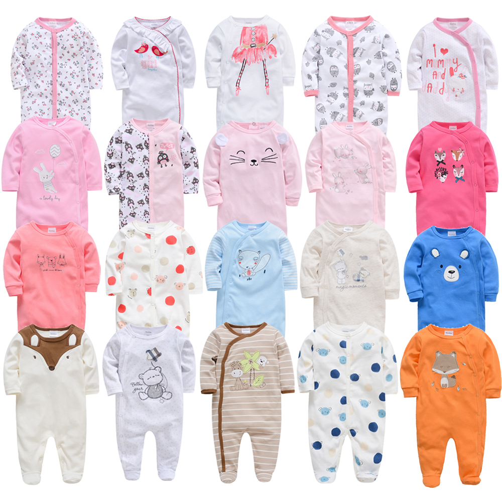 2020 3 4 Pcs/lot Summer Baby Boy Roupa De Bebes Newborn Jumpsuit Long Sleeve Cotton Pajamas 0-12 Months Rompers Baby Clothes