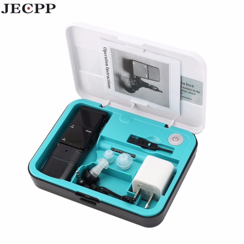Numérique Rechargeable Filaire USB Oreille Aide Auditive Kit avec Intelligence UV Boîte Sonore Réglable Amplificateur Sound Enhancer KXW-180C