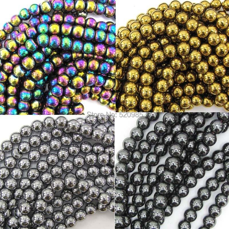 "Free Shipping Natural Stone Black/Gold/Silver/Rainbow Hematite round Beads 4 6 8 10 MM 16"" Per Strand No.HB30"