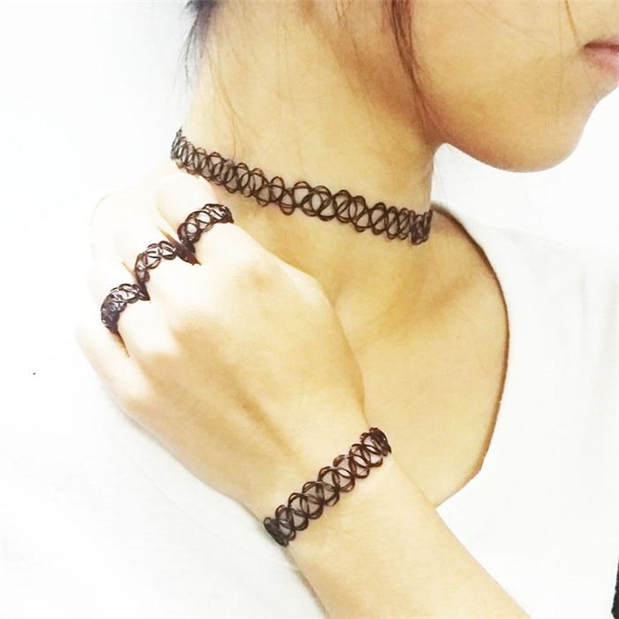 Durable 2016 New Fashion Women Collares Necklaces Black Retro Henna Vintage Elastic Tattoo Choker Stretch Free Shipping (21)
