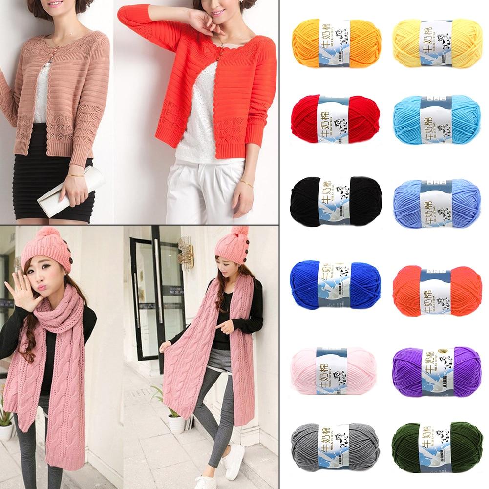 4Pcs Fashion Multi-Colors Mixed Job Lot 50g DK knitting Crochet Milk soft Baby Cotton Thread Wool Yarn Super Soft DIY Craft ...