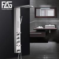 FLG 304SUS водопад дождь смесители для душа никель Матовый, термостатическая душевая панель с ручной душевой ванной носик башня душевая колонка