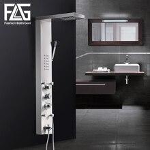 FLG 304SUS Wasserfall Regen Dusche Armaturen Nickel Gebürstet, Thermostat Dusche Panel Mit Hand Dusche Badewanne Auslauf Turm Dusche Spalte