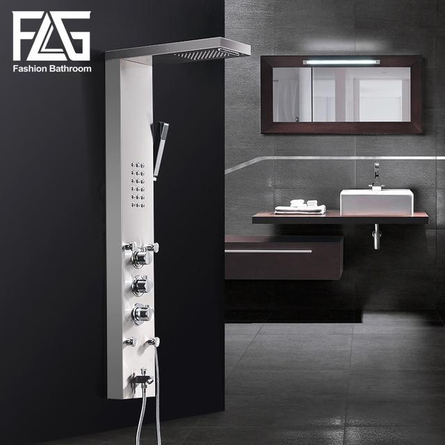 flg 304sus wasserfall regen dusche armaturen nickel gebrstet thermostat dusche panel mit handbrause badewanne auslauf - Wasserfall Regendusche