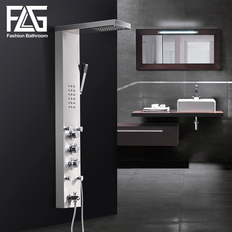 FLG 304SUS Waterfall Rain Shower Faucets Nickel Brushed,Thermostatic Shower Panel With Hand Shower Tub Spout Tower Shower Column brushed nickel thermostatic shower mixer panel wall mount stainless steel rain waterfall with massage jet shower column
