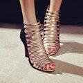 Большой Размер 34-43 Кожаная обувь Сандалии Дамы Платформы, повелительницы Ботинок Платья Сексуальные Высокие Пятки Женщины Насосы 1507