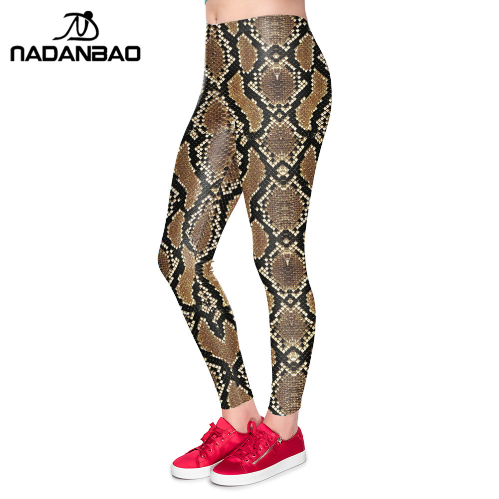 NADANBAO New Design Snake Printed Leggings Snakeskin Fitness Legging Sexy slim Workout Leggin For Woman Elastic Pants