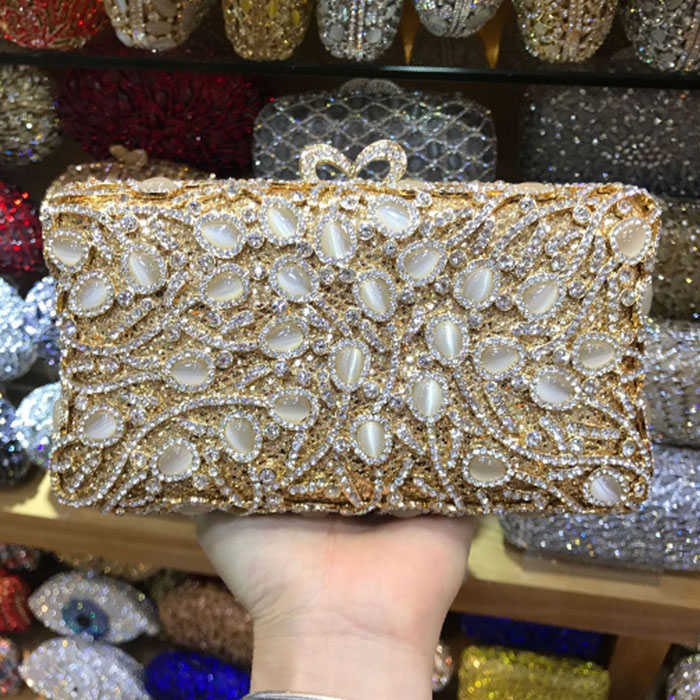 Golden pearl beaded Minaudiere Handbag Women Evening day Clutches Bag Bridal Diamond Clutch Wedding Purse Metal Evening bags l64 sandalwood comb green tan comb mini sandalwood comb page 7
