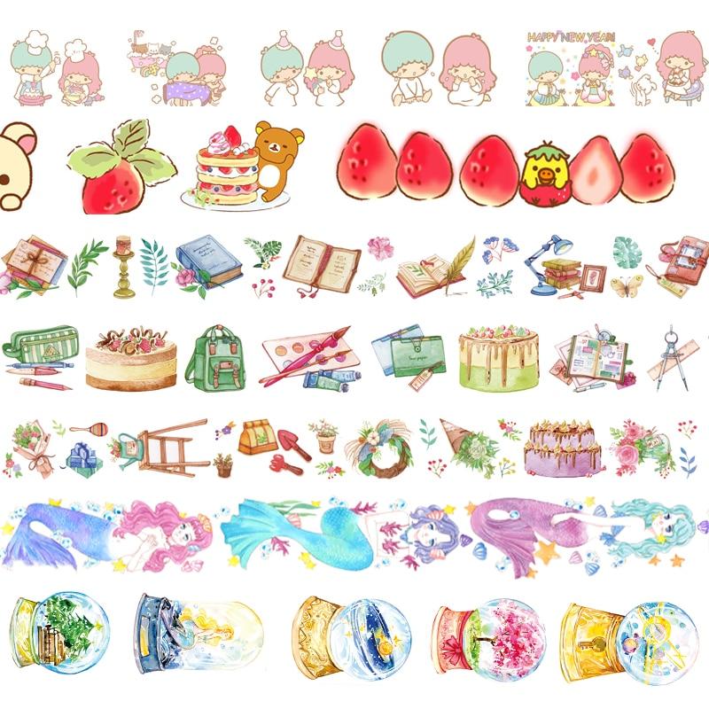 1pcs/1lot Washi Masking Tapes Mermaid Flower Decorative Adhesive Scrapbooking DIY Paper Japanese Stickers 5M