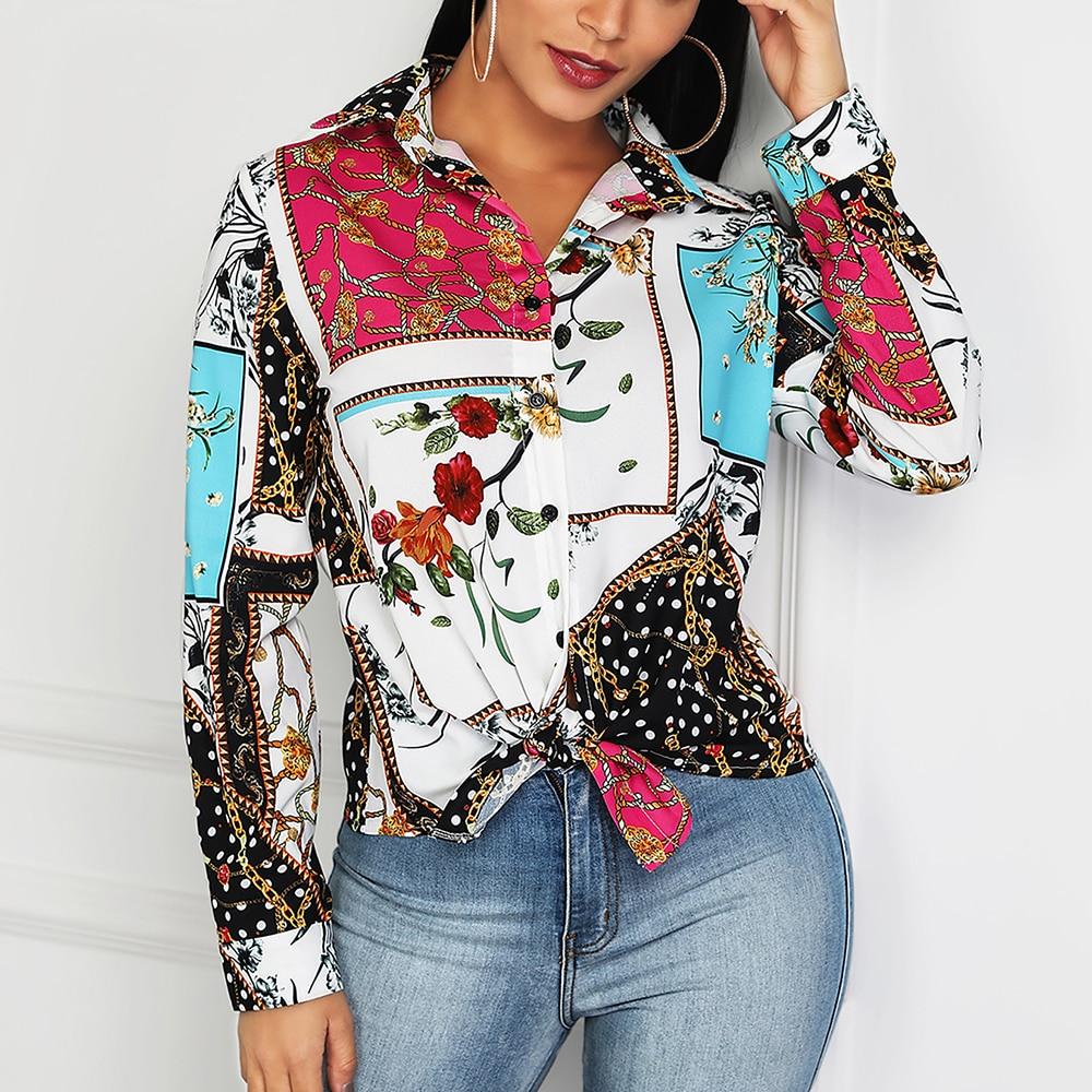 634092c0 Blusa de manga larga para mujer con estampado de cadena Boho Vintage  primavera 2019