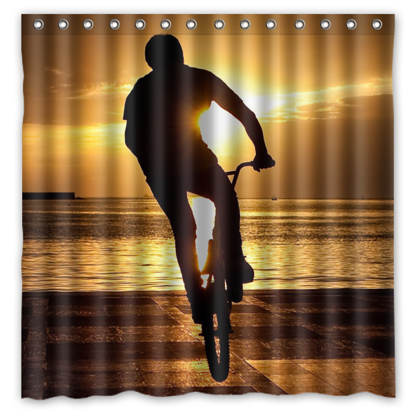 2019 New Style 2016 Bicycle Motocross&bmx Waterproof Polyester Shower Curtain Mildewproof Bath Curtains Cortinas Para Banheiro 180x180cm Shower Curtains Home & Garden
