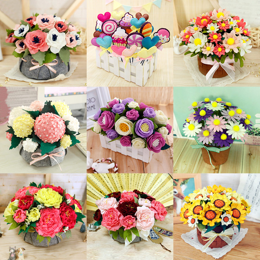 New 12 Styles Simulation Bouquets Felt DIY Package Free Cut Handmade Artificial Flower For Wedding / Living Room Decoration