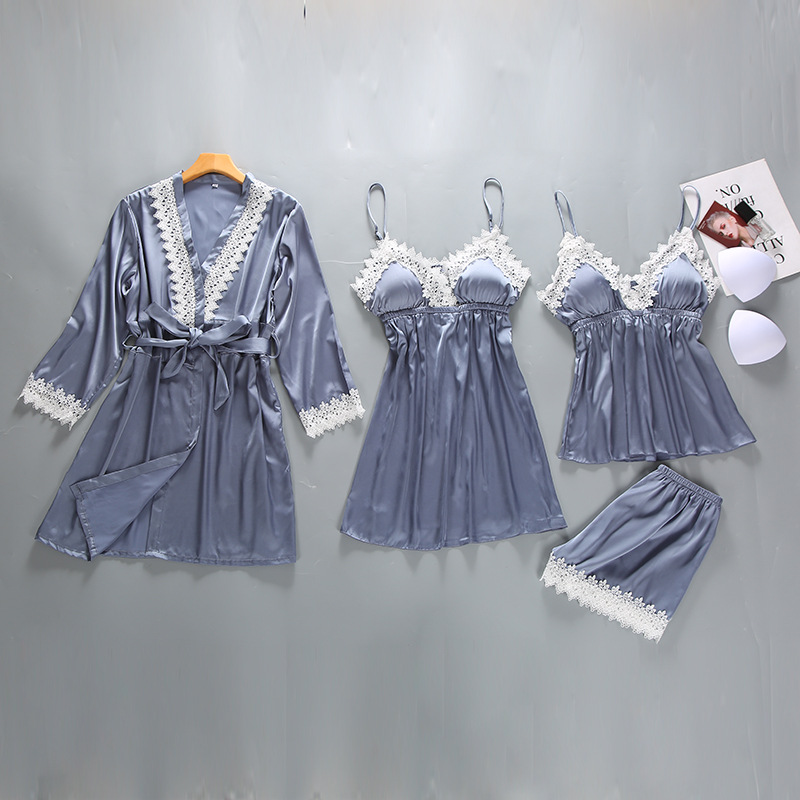 Gray Womens 4PC Strap Top Pants Suit Pajamas Sleepwear Sets Spring Autumn Home Wear Nightwear Sexy Faux Silk Robe Bath Gown