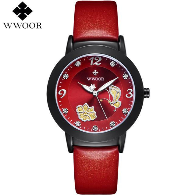 Flower Butterfly Genuine Leather  Watch