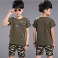 boys sports suits 2016 new summer fashion camouflage boy sets 2pcs short sleeve O-neck T-shirt+short pants children clothing