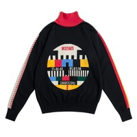 Harajuku Autumn Winter Warm Turtleneck Women Vintage Black Sweater Cotton Knitwear Pullover Knitted Tops Geometric Thicken
