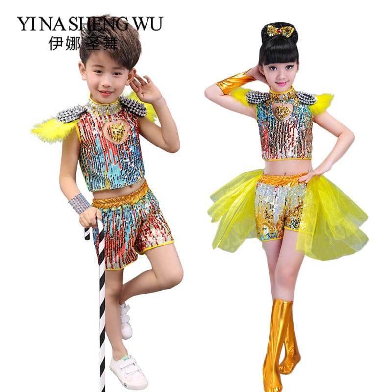 Children Dance Costume Sequins Jazz Dance Modern Dance Performance Costumes Set Girls Boy Hip Hop Street Dance Sequins Clothing