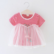 2019 New Baby Girls clothing Summer Newborn Striped Dress Cute Cotton Soft clothes Bebe Girl Princess Bow Infant dress