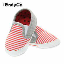 First Walker Baby Shoes Boys Girls Canvas Stripe Anti-Slip S