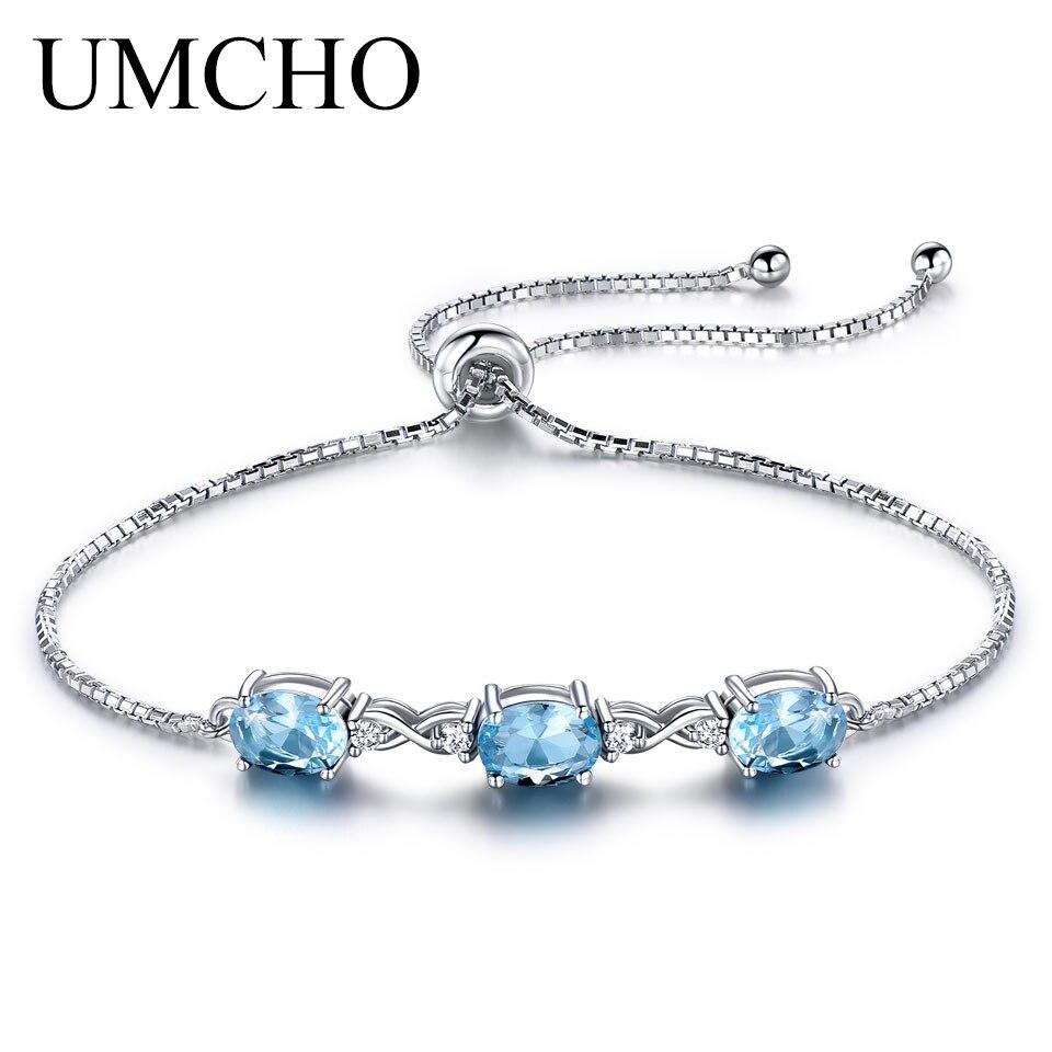 UMCHO Solid 925 Sterling Silver Bracelets Bangles For Women Natural Sky Blue Topaz Adjustable Tennis Bracelet Wedding Party Gift