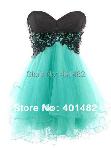 Hot Sale 100% Real Images Fantastic Lace Tulle A-line Sweetheart Mini Knee Length   Cocktail     Dresses