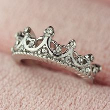 NEW Queen's Plata Crown Rings For Women Punk Brand Crystal Jewelry Love Rings Femme Bijoux wedding engagement rings(China)