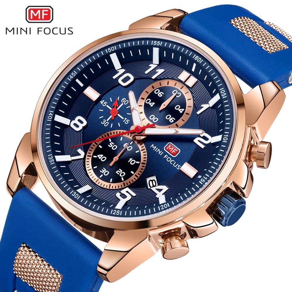 MINI FOCUS Gold Fashion Sports Watch Men Luxury Brand Analog Men's Watches Quartz Watches Man Clock Chronograph Silicone Strap