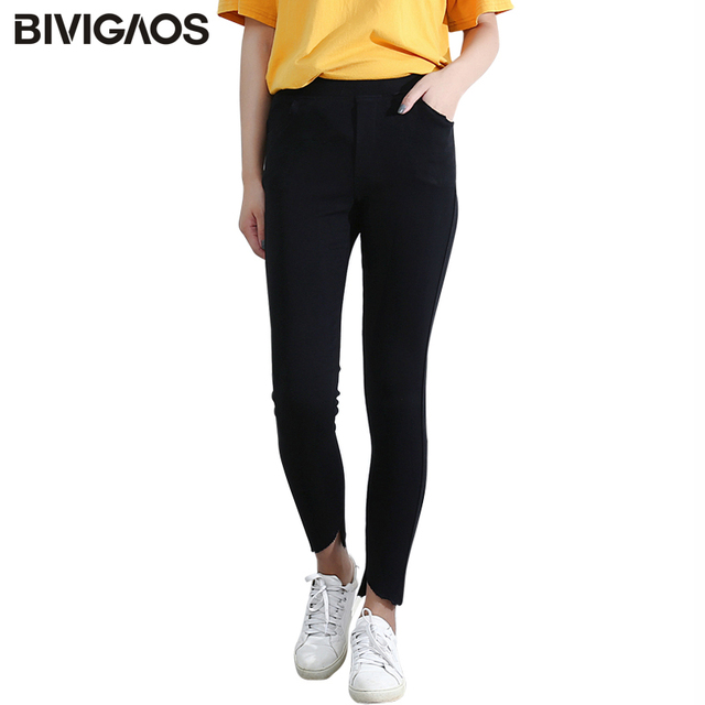 8cf29eb116add BIVIGAOS New Korean Elastic Irregular Ankle Pants Leggings Black Slim Skinny  Pencil Pants Trousers Women Rich