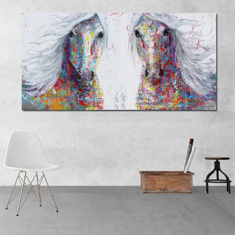 ee835d9157b ( o ) Big Size Animal Art Print Poster Wall Art Two Horse Painting Canvas  Modular Pictures For Living Room Wall Decor No Framed-in Painting    Calligraphy ...