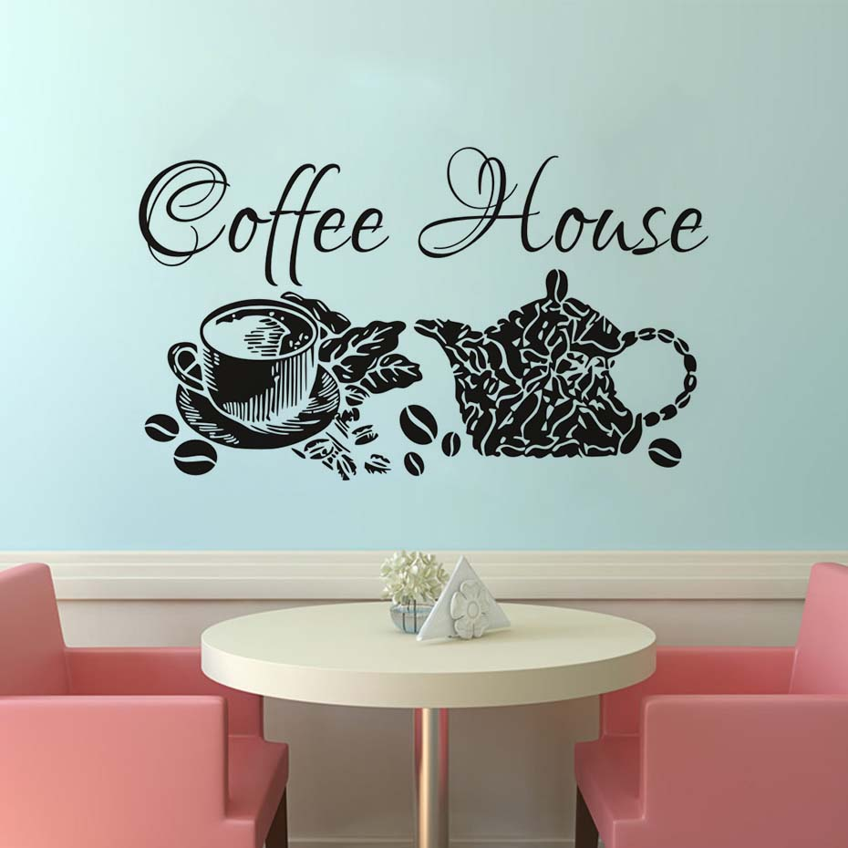 Wall Decals Coffee House Decal Vinyl Sticker Home Decor Shop Removable Kitchen Interior Design Glass
