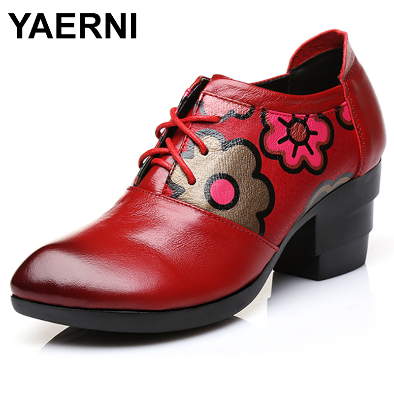 YAERNI Women Leather Boots Black Flower 6 CM High Heels Retro Women Lace Up Chelsea Boots Handmade Women Martin Boots E498 retro engraving and lace up design women s sweater boots